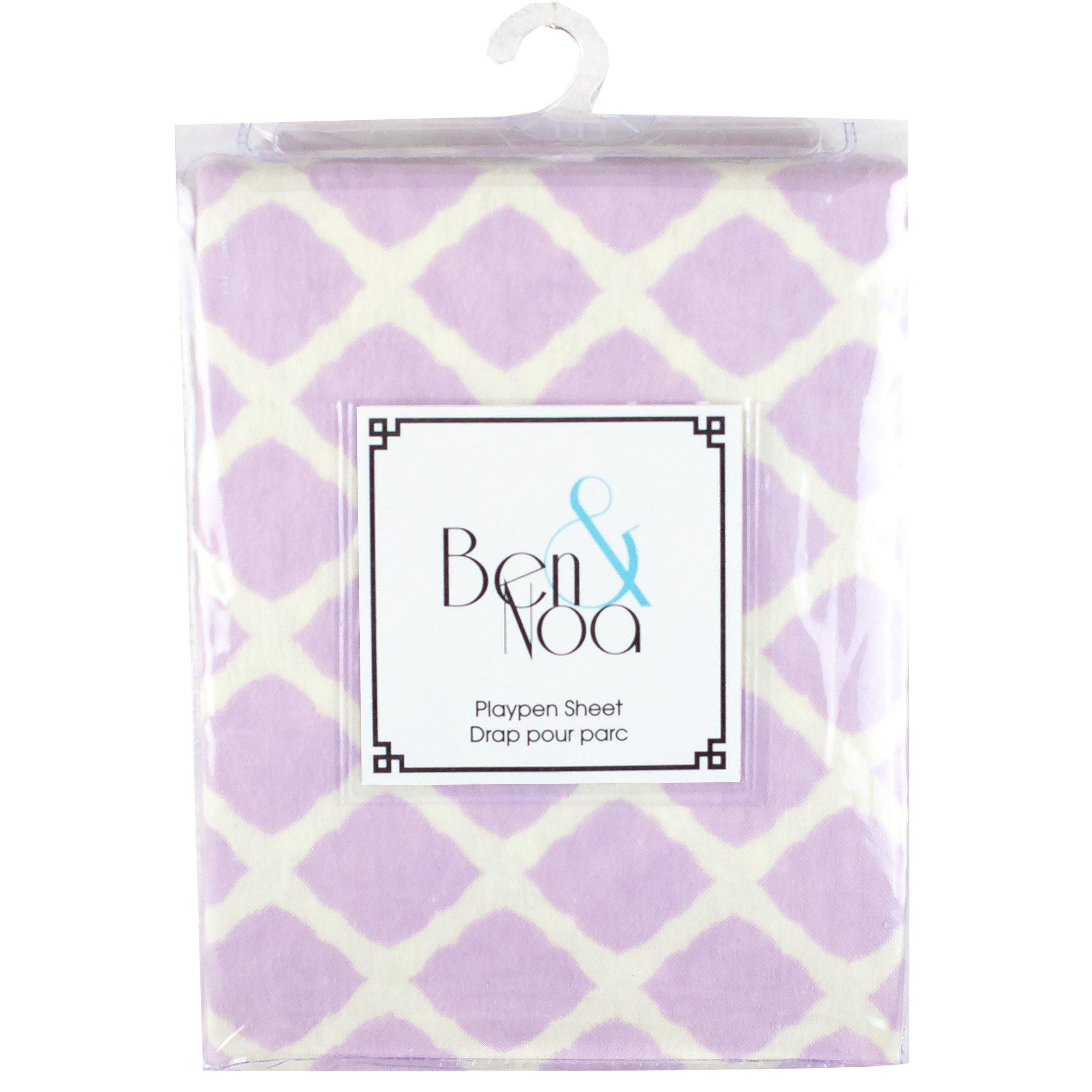 Kushies Baby Ben & Noa Play Pen Flannel Sheet, Lilac Lattice