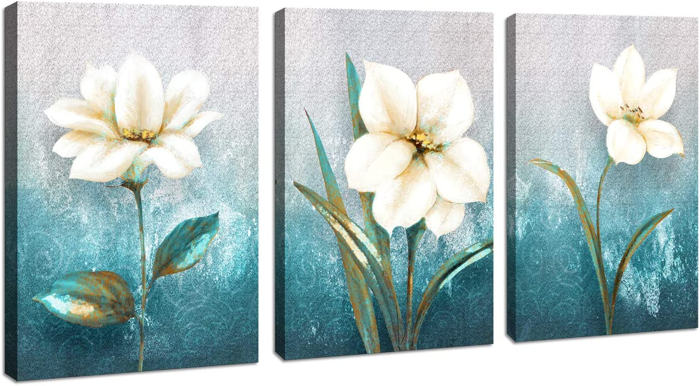 Modern Abstract White Flower Canvas Wall Art for Bedroom Wall Decor Picture Artwork Bathroom Decoration 12