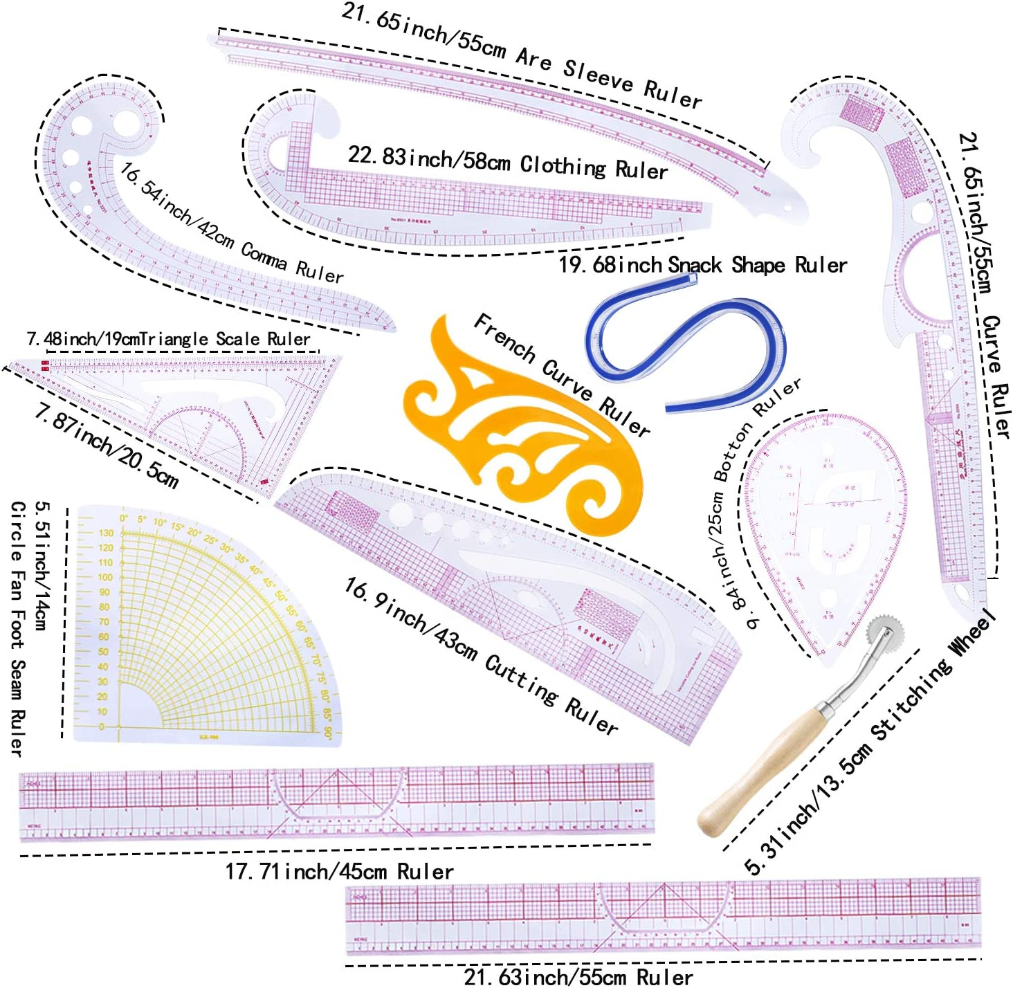 Practical 3 in 1 Plastic Curve Metric Ruler Craft Sewing Tool Measure for Tailor Grading Rule Pattern Making Styling Design