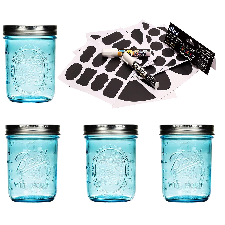 Ball Mason Jar 16 oz Aqua Blue Glass Collection Elite Wide Mouth Set of 4 Jars Bundle With eHomeA2Z 62 Premium Reusable Chalkboard Stickers + 2 Large Erasable Markers (16 Oz Wide Mouth, Aqua Blue)