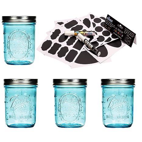 Amazon.com: Ball Mason Jar - Juego de 4 tarros de cristal de ...