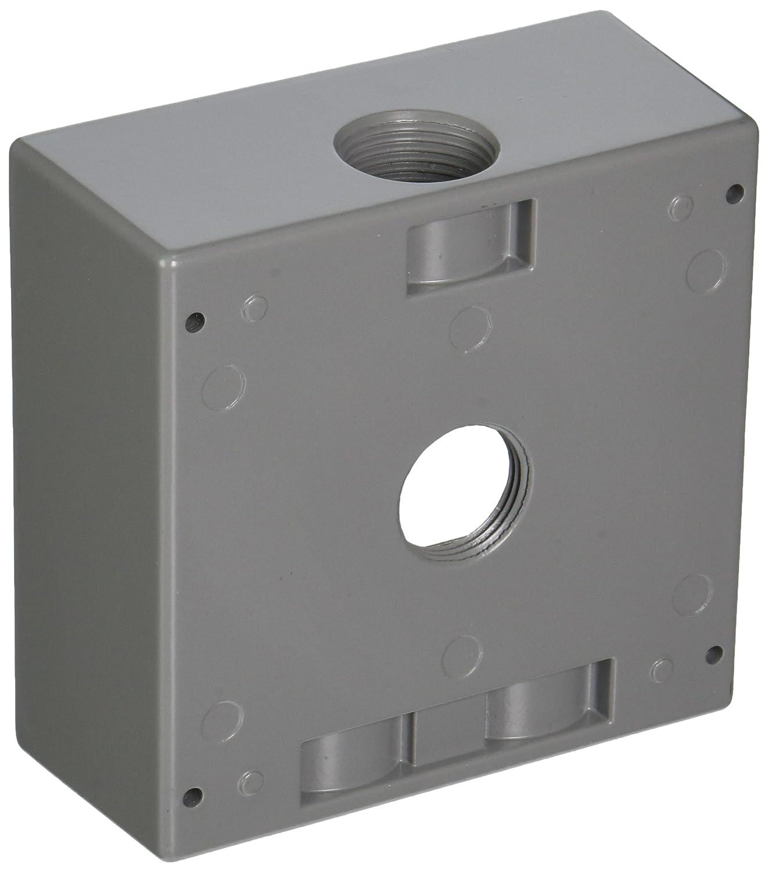 TayMac DB475S 4 1 2 Inch X 4 1 2 Inch Gang 2 Inch Deep Weatherproof Box 3 4 Inch Outlets Gray