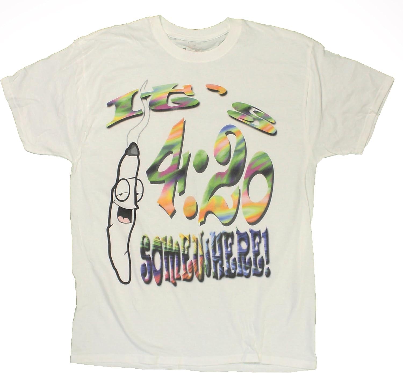 It's 4:20 diseño con texto en inglés de dibujo con espiral algún lugar de con hoja de marihuana olla para hombre T-Shirt de bisquettes para ahumador Stoner