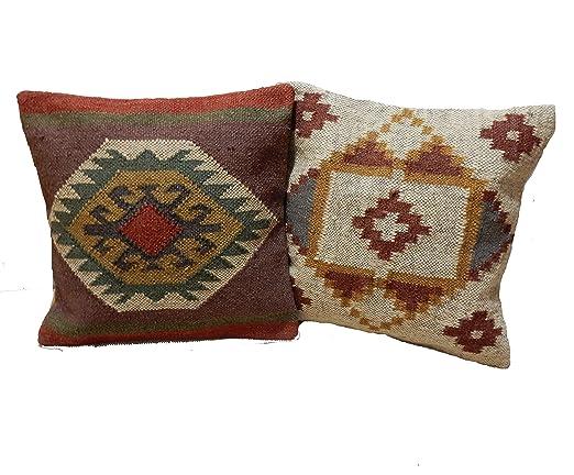 Handicraft Bazarr - Juego de 2 Cojines de Yute de Lana ...