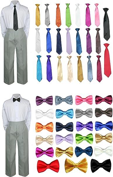 3PC Shirt Gray Pants Nectie Set Baby Boy Toddler Kid Formal Suit Sm-183