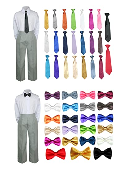 18c01ac2a066 3PC Shirt Gray Pants Bow Tie Set Baby Boy Toddler Kid Formal Suit Sm-7