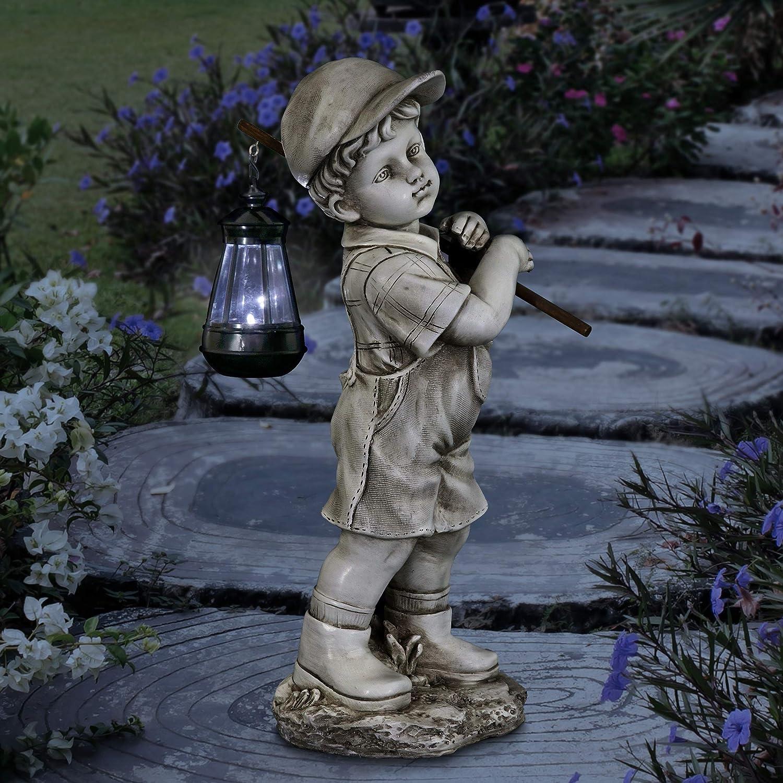 Exhart Little Boy Garden Statue with Solar Lantern, 17 Inches