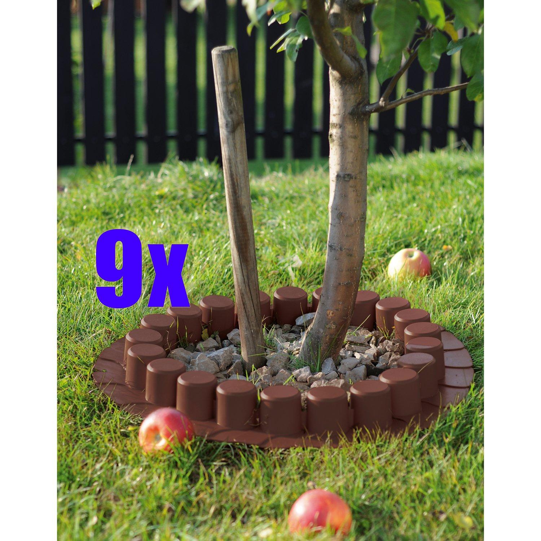 9er Set: 9x Palisade / Rasenkante Kunststoff 4 Meter BRAUN = 36 Meter Beeteinfassung Beetumrandung 3645 cm