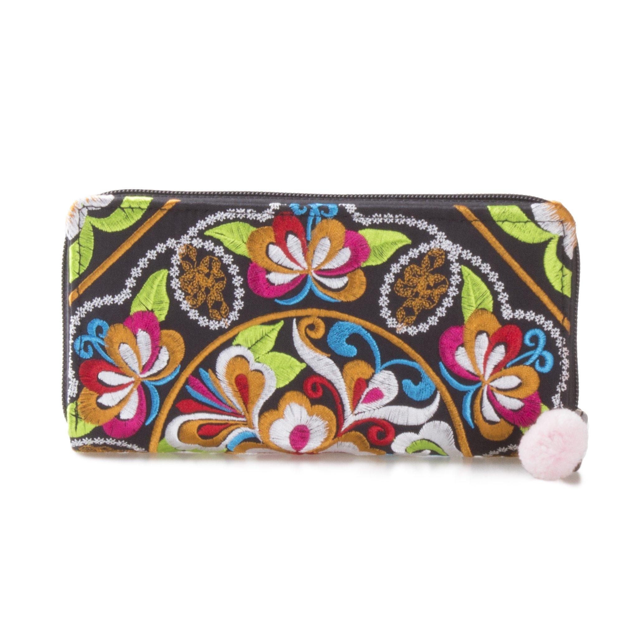 Changnoi Unique Handmade Women's Wallet Thai Hmong Embroidered Fabric (Garden Black)