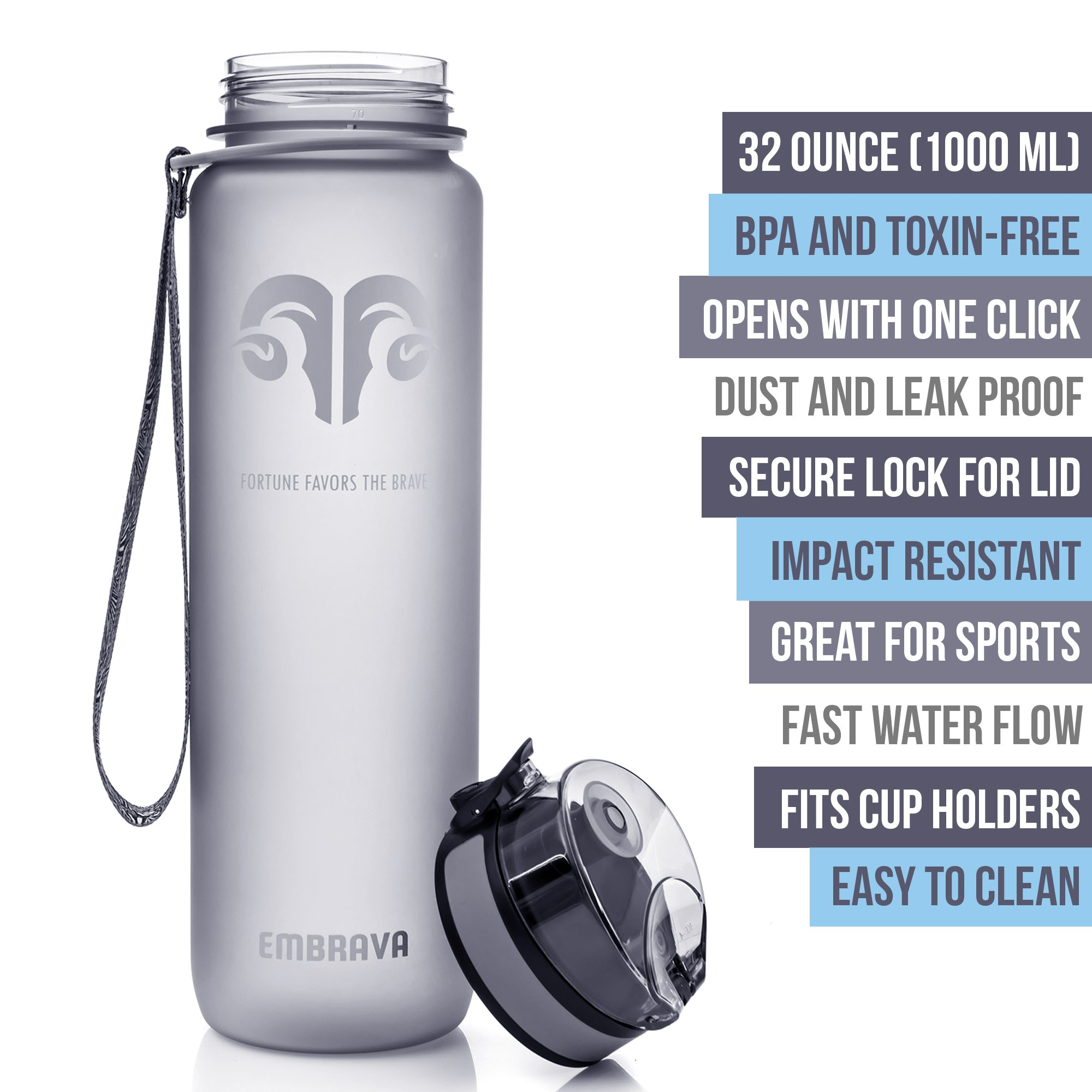 Best Sports Water Bottle - 32oz Large - Fast Flow, Flip Top Leak Proof Lid w/ One Click Open - Non-Toxic BPA Free & Eco-Friendly Tritan Co-Polyester Plastic (GRAY) by Embrava (Image #2)
