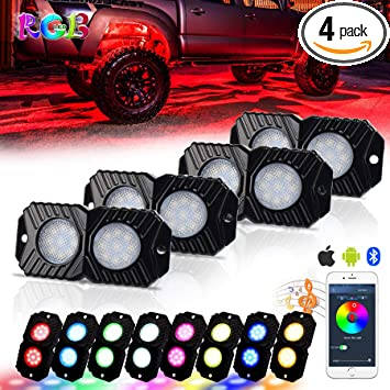 Govee 4 Pods App Control Multi Color Neon Lighting Kit for Car 12 V Waterproof Music Rock Lights for JEEP Off Road Truck Car ATV SUV Motorcycle RGB LED Rock Lights with APP