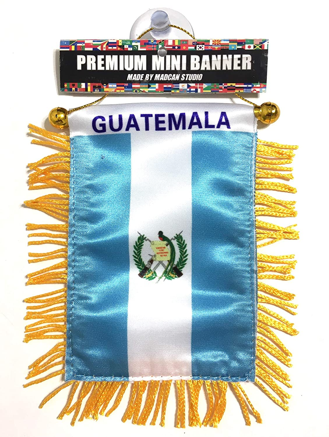 Guatemala Flags for car Interior Rearview Mirror or Home Sticks to Windows Glass Quick and Easy Quality Small Hanging Mini Banner Flags car Accessories (1 Flag
