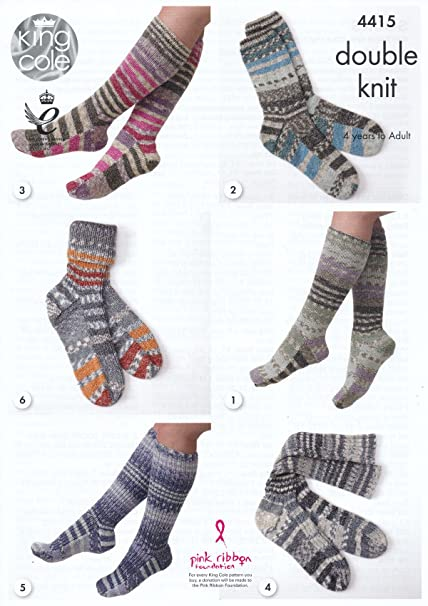 King Cole Double Knitting Pattern Long or Short Socks Kids Ladies ...