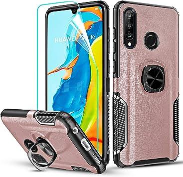 LeYi Funda Huawei P30 Lite con HD Protector de Pantalla, Carcasa 360 Grados Metal Magnetica Anillo Soporte Hard PC Soft TPU Gel Silicona Bumper Slim