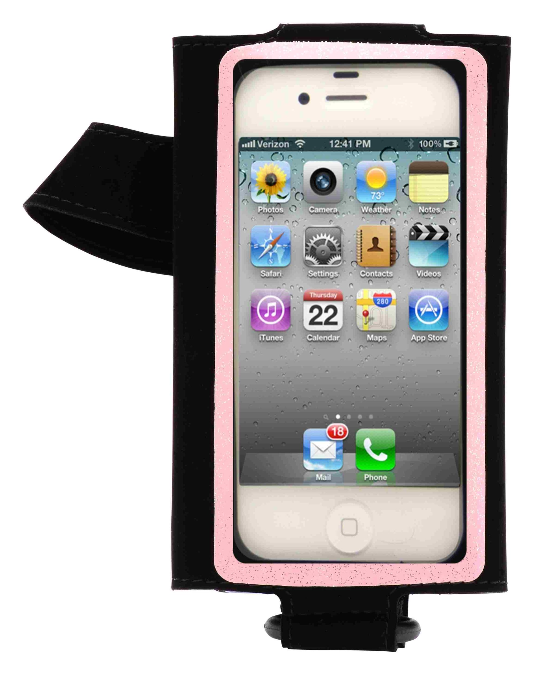 HB Tune hand/arm band for Iphone and Ipod Touch (Left (intended for right handed users) with black background and pink stripe)