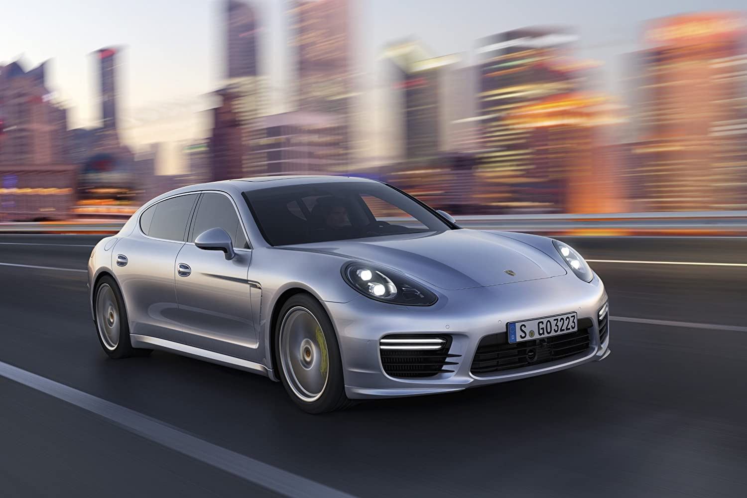 Amazon.com: Porsche Panamera Turbo Executive (2013) Art Car Poster Print on 10 mil Archival Satin Paper Silver Front Side View 16