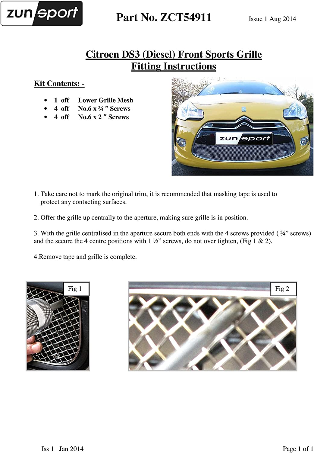 Zunsport Compatible With Citroen DS3 Diesel Black finish Lower Grille 2011 onwards