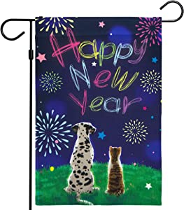 """G128 - Happy New Year Garden Flag, New Year Themed Decorations - Dog and Cat Watching Fireworks, Rustic Holiday Seasonal Outdoor Flag 12"""" x 18"""""""