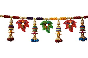 "REPTUM Decor Traditional Multi Zula Pearl Beads Handmade Bandarwal for Door Hanging Toran for Door, Traditional Bandarwal for Door, 37"" inch Length"