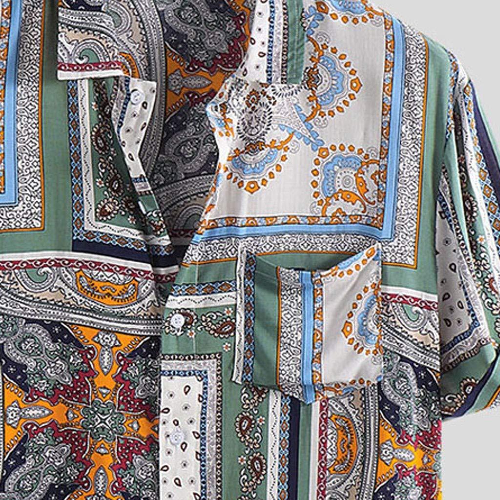 Fascino-M Camicia Lino Uomo Manica Corta Stampato Geometrico Risvolto Pulsanti Camicia Uomo Slim Fit Shirt Estiva Casual Sciolto Camicie da Spiaggia