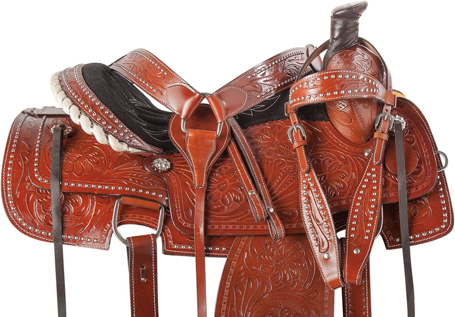 Western Ranch Rough Out Pleasure TrailカウボーイレザーTooled Horseサドルフリータックセット15 16 17 18