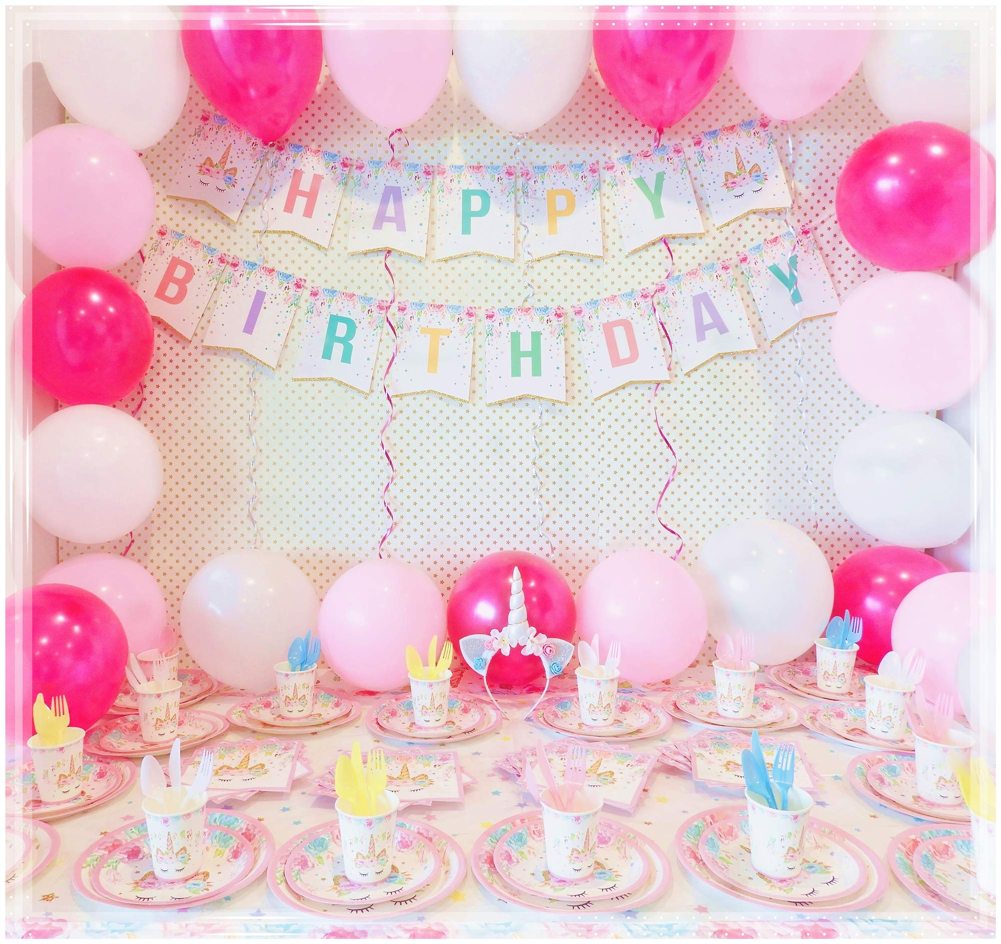 Unicorn Party Supplies Set with BONUS Glittery Unicorn Headband and 30 Balloons   145 Piece Disposable Unicorn Themed… 8
