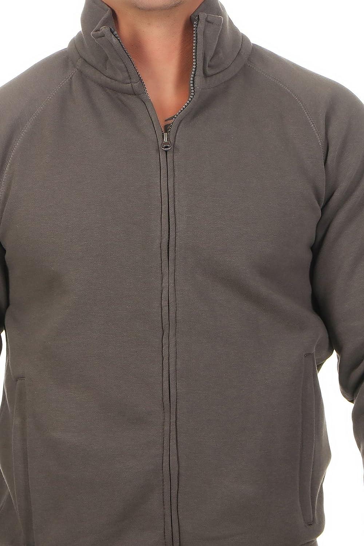 Farbe:Blau Happy Clothing Herren Sweatjacke ohne Kapuze Zip-Jacke Rei/ßverschluss mit Kragen Gr/ö/ße:5XL