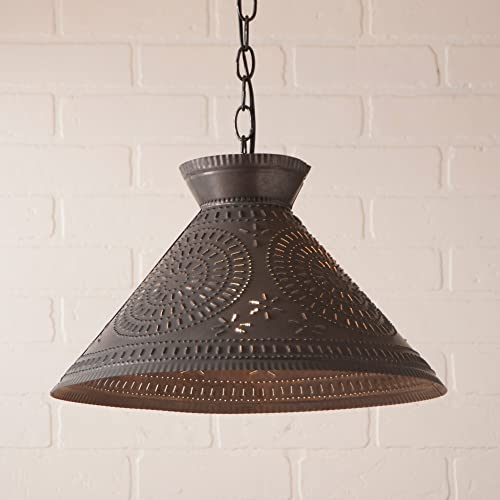 Roosevelt Shade Light with Chisel in Blackened Tin