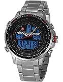Shark - SH325 - Montre Homme - Quartz - Digitale/Analogique - Jour/Date/Alarm - Bracelet Acier Inoxydable