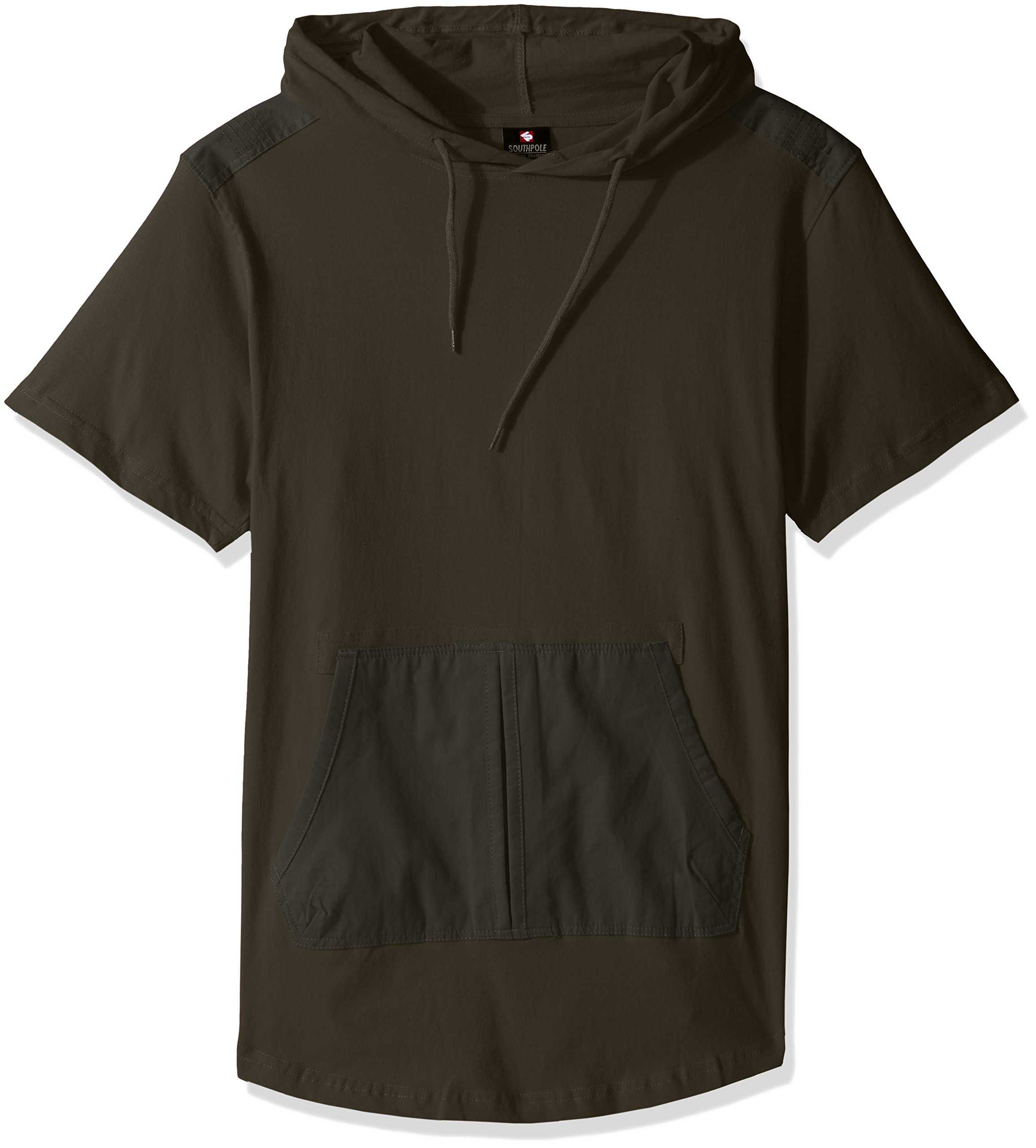 Southpole Men's Short Sleeve Hooded Scallop Tee with Fine Twill Detail, Olive, Large
