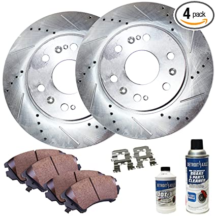 Detroit Axle - Drilled & Slotted Rear Brake Rotor Performance GRADE Set &  Brake Pads w/Clips Hardware Kit & BRAKE CLEANER & FLUID INCLUDED For Toyota