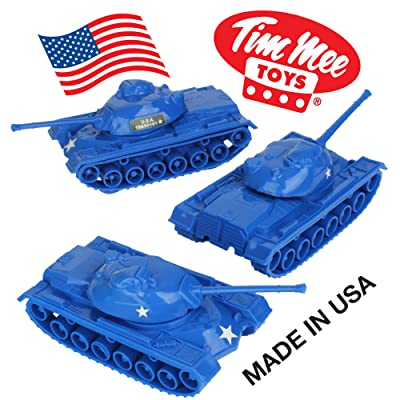 TimMee Toy Tanks for Plastic Army Men: Blue WW2 3pc - Made in USA: Toys & Games