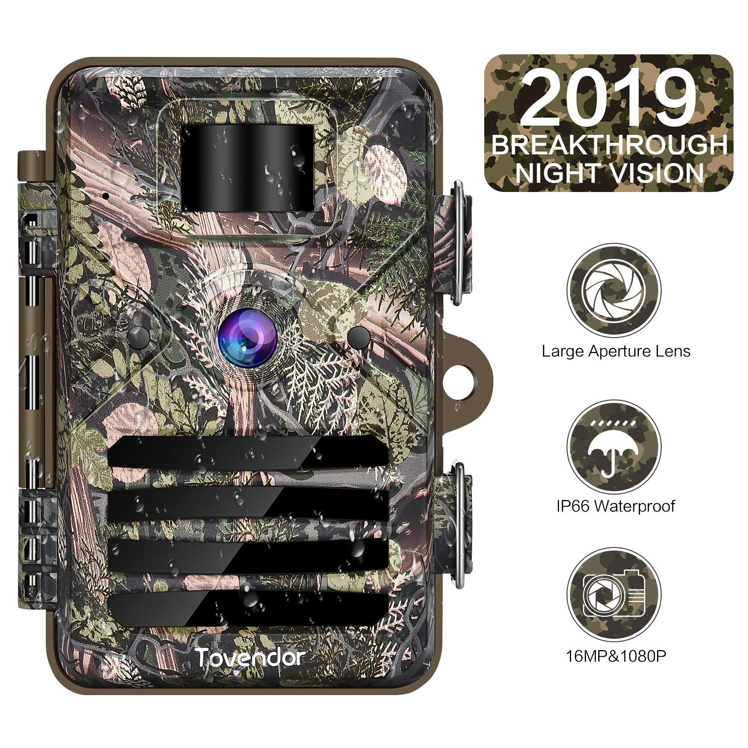 Tovendor 16MP Trail Camera IP66 Waterproof Outdoor Hunting Cam with 940nm No Glow Night Vision, 0.3s Trigger Time Motion Activated Wildlife Monitor