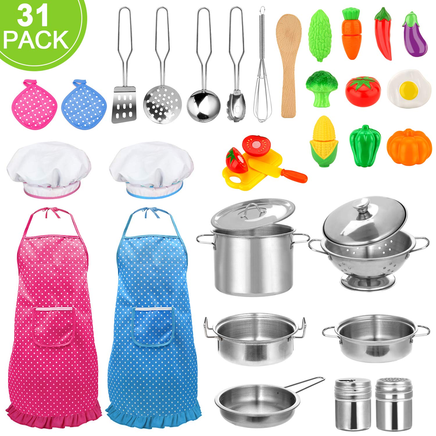 31pcs Kids Kitchen Pretend Play Toys Toy Kitchen Set with Stainless Steel Cooking Utensils Cookware Pots and Pans Set Healthy Vegetables, Knife, Little Chef for Toddlers & Children Boys Girls by CHAREADA