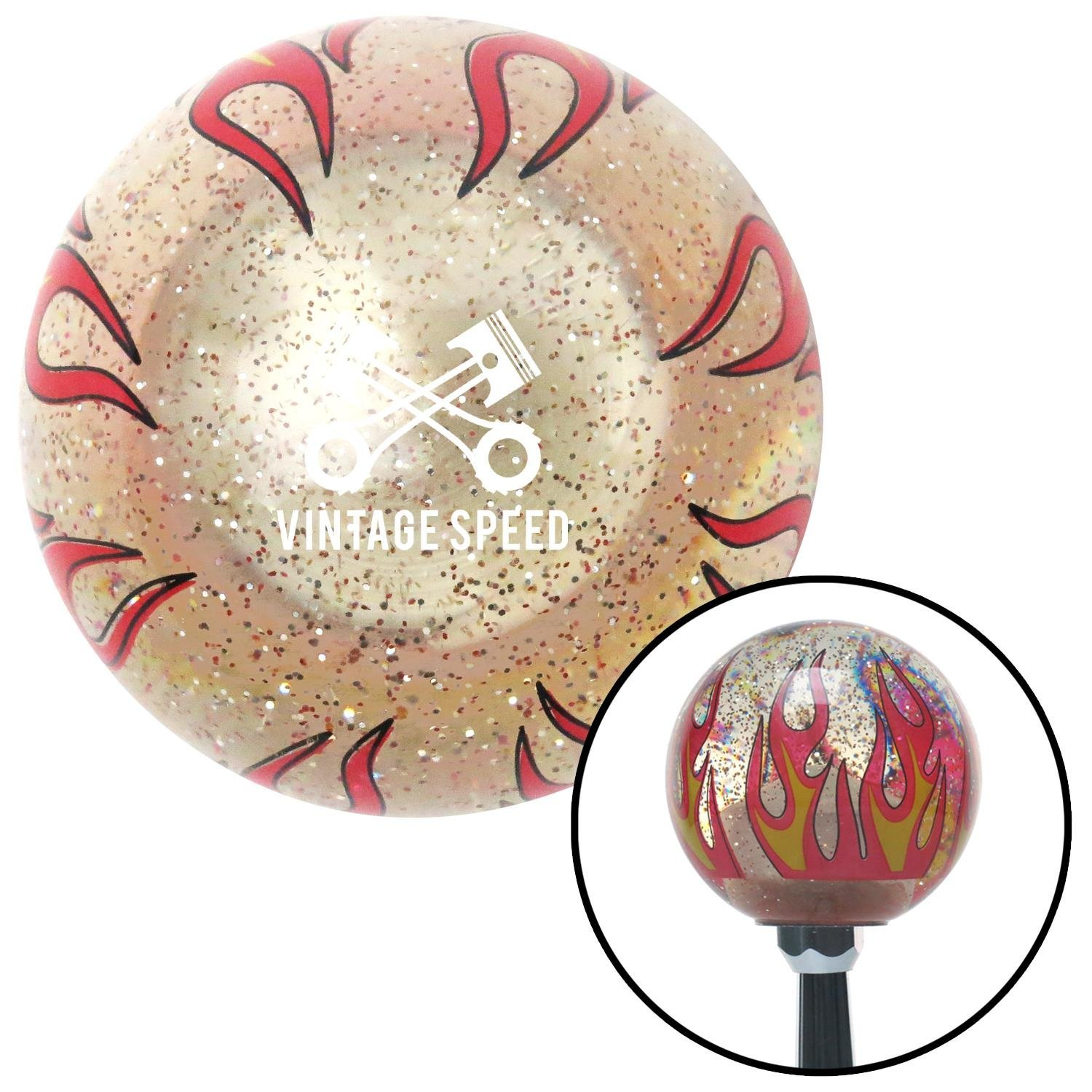 American Shifter 296371 Shift Knob White Vintage Speed Clear Flame Metal Flake