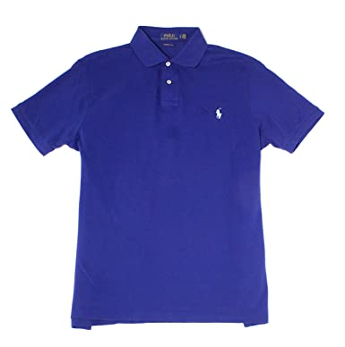 b445c68f Image Unavailable. Image not available for. Color: RALPH LAUREN Polo Men's  Custom Slim Fit Short Sleeve Cotton Mesh Polo Shirt (Fall Royal
