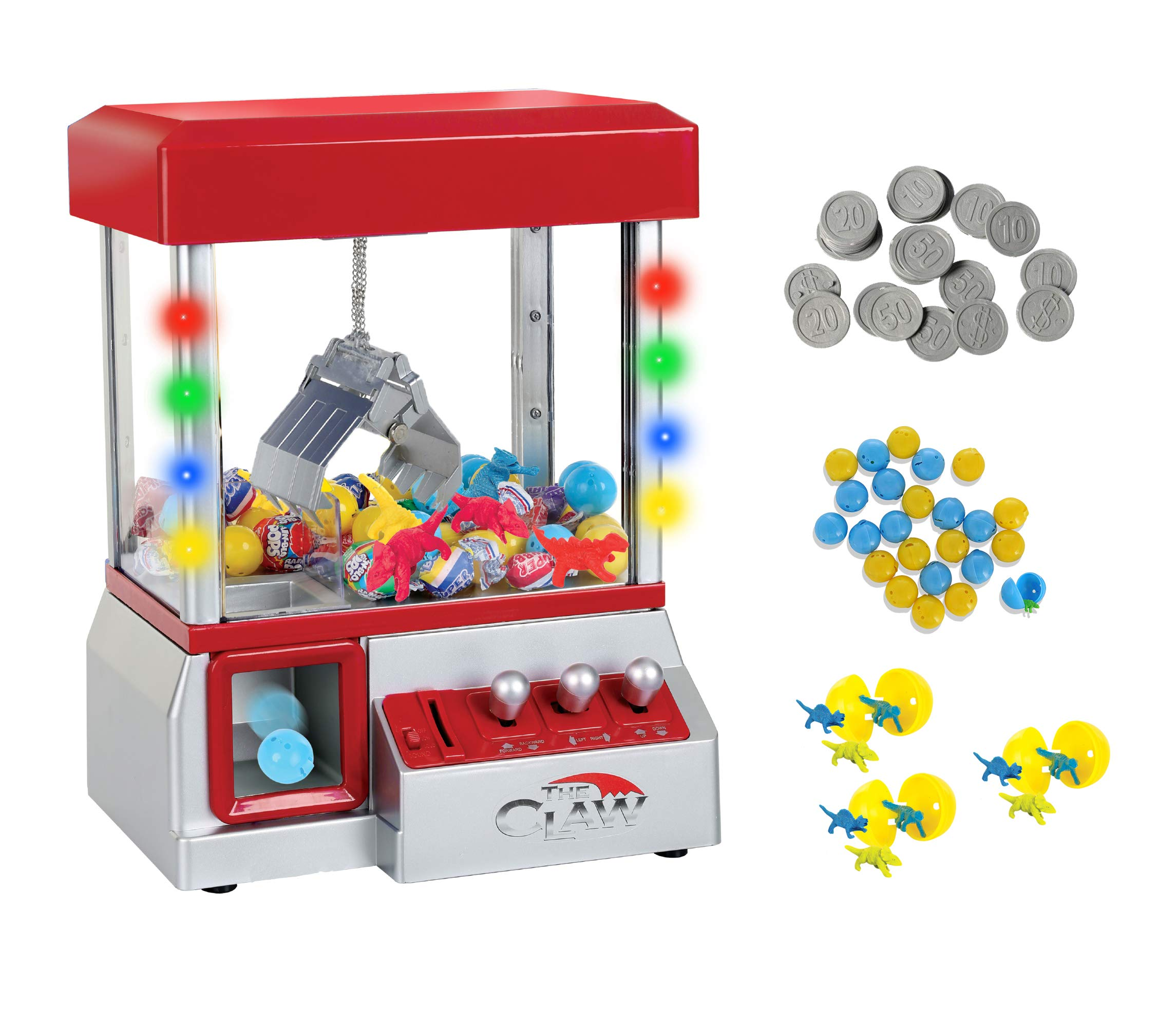 TSF TOYS Claw Game Machine-Kids Mini Arcade Grabber- Toy Candy Dispenser Crane Toy-with LED Lights and Adjustable Sound Switch-Bonus 24 Prizes (Red)