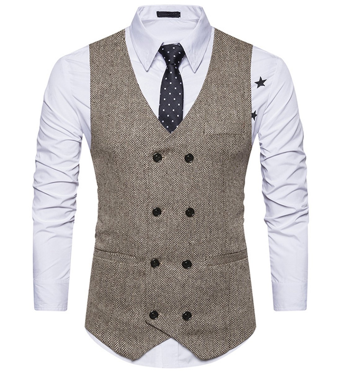 Mirecoo Men Slim Fit V Neck Double Breasted Tweed Business Casual Waistcoat Suit Vest