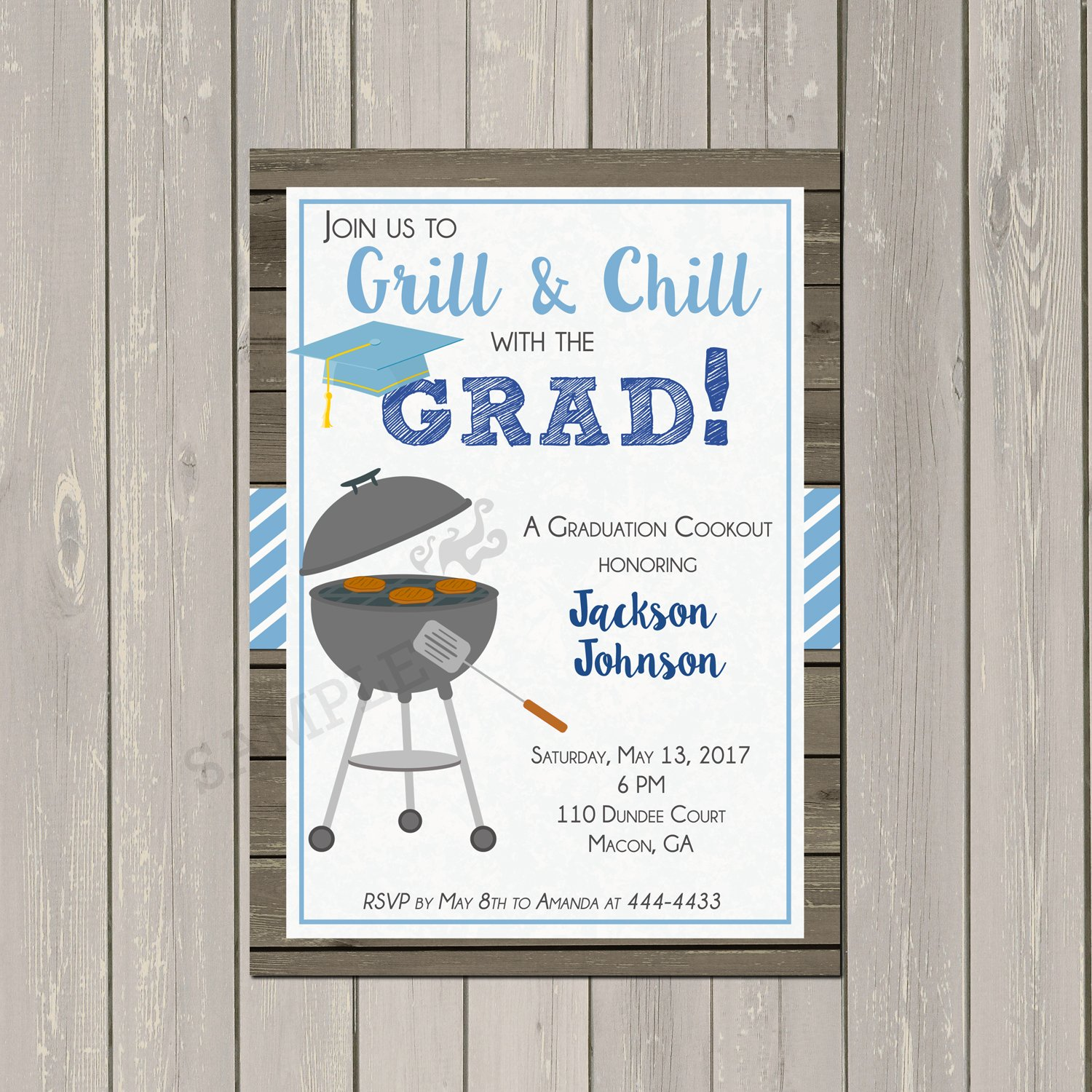 Amazon graduation bbq cookout invitation highschool or college amazon graduation bbq cookout invitation highschool or college graduation party invitation base price is for 10 5x7 cardstock inviattions with white filmwisefo
