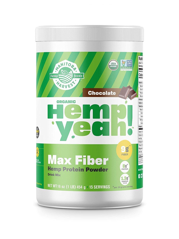 Manitoba Harvest Hemp Yeah! Organic Max Fiber Protein Powder, Omegas 3&6 per Serving, Brown, Chocolate, 16 Ounce