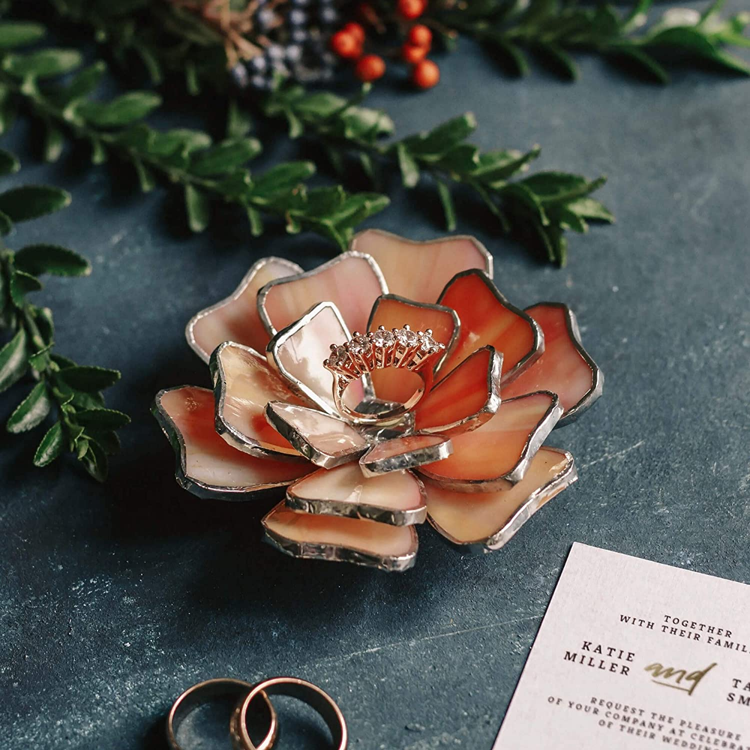 Amazon Com Wedding Ring Dish Floral Jewelry Dish Stained Glass Flower Ring Holder Engagement Wedding Ring Bearer Gold Pink Handmade