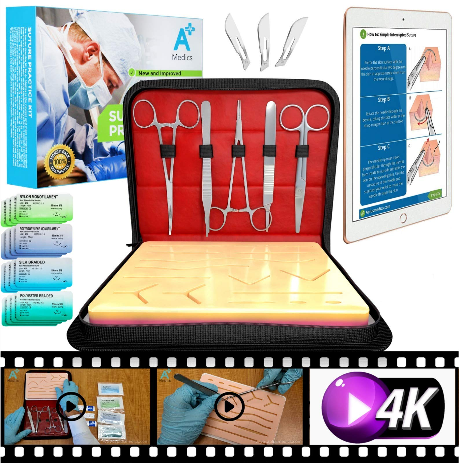 A Plus Medics Suture Kit, Complete Suture Practice Kit with New 2019 Case & Interactive eBook, Incl. Skin Like Suture Pad, Thread Sutures, Surgical Tools & Carryall Leather Case, for Medical Students by A Plus Medics