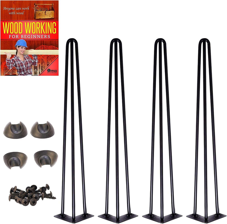 """28/"""" Heavy duty Black hairpin legs  2 Rod dinner table legs//Angled USA house"""