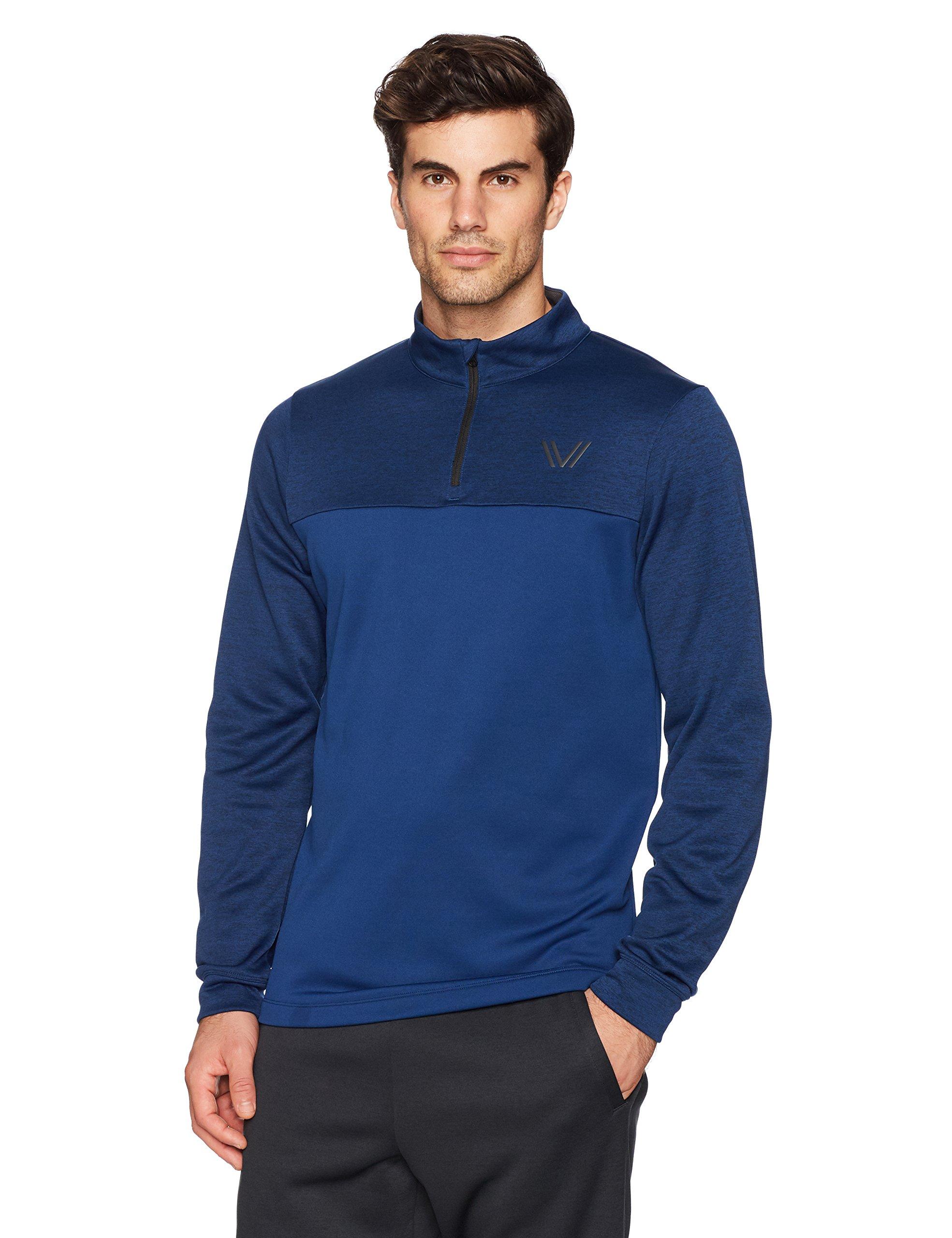 Peak Velocity Men's Quantum Fleece 1/4 Zip Athletic-Fit Top, Victory Blue Heather/Victory Blue, Medium
