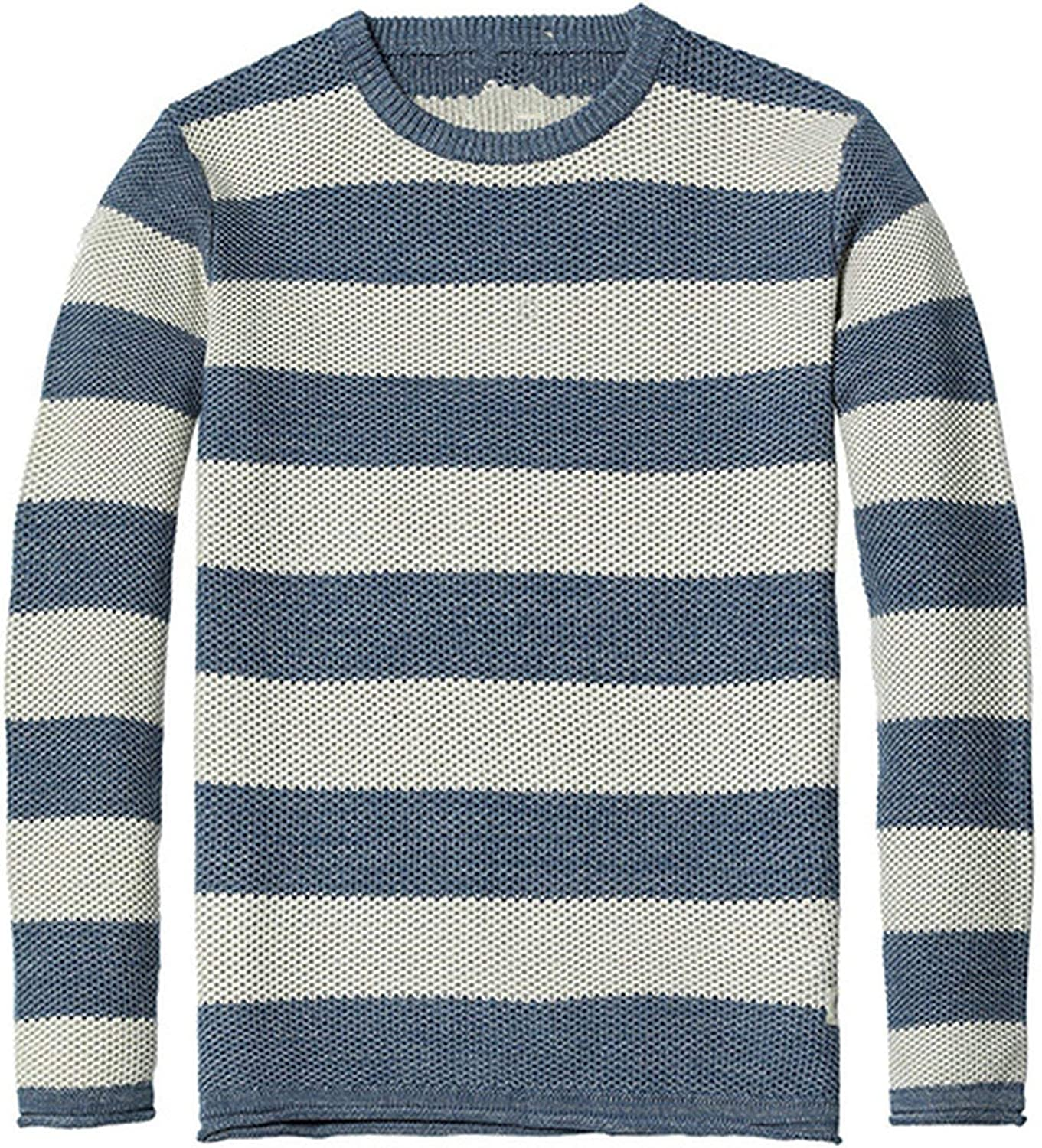 Little SU Spring Striped Sweater Men Contrast Color 100/% Cotton O Neck Knitted Pullovers