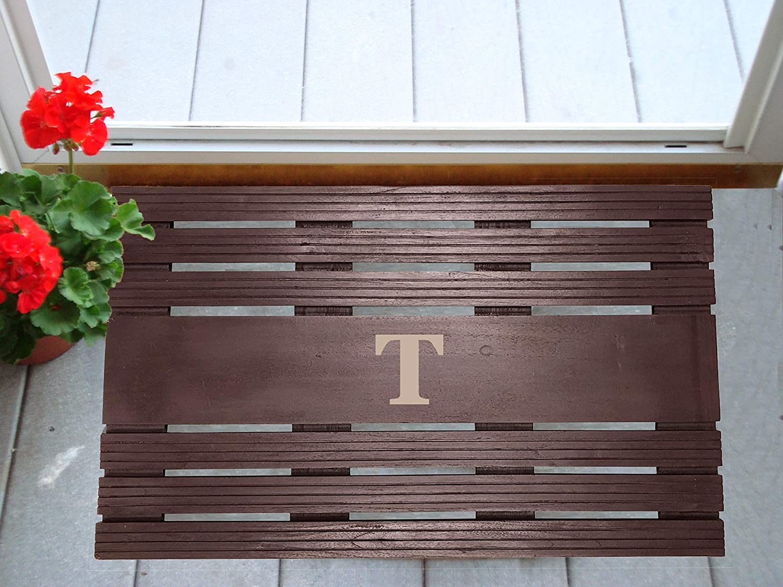 Nedia Home Monogrammed T Painted Teak Mat 20 x 30 Espresso 20 x 30 35002T