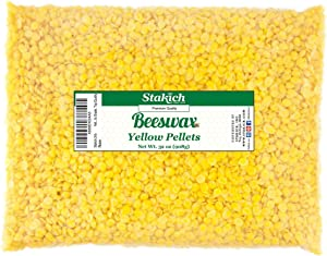 Stakich Yellow Beeswax Pellets - Natural, Cosmetic Grade - 2 Pound (in 1 Pound Bags)