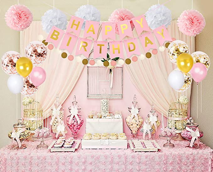 Juego De Decoración De Cumpleaños Para Niñas Color Rosa Y Dorado Para Fiesta De Cumpleaños Primer Cumpleaños Niña Fiesta Temática De Princesa Clothing