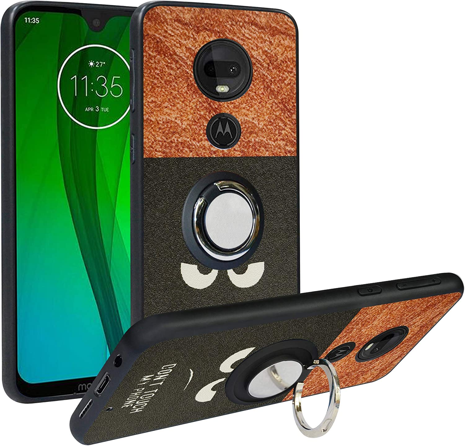 Alapmk Compatible with Motorola Moto G7 Case,[Pattern Design] Soft TPU Hard PC Protective Durable Case Cover with Kickstand 360°Adjustable Ring Grip Stand Work for Moto G7/G7 Plus,Do not Touch