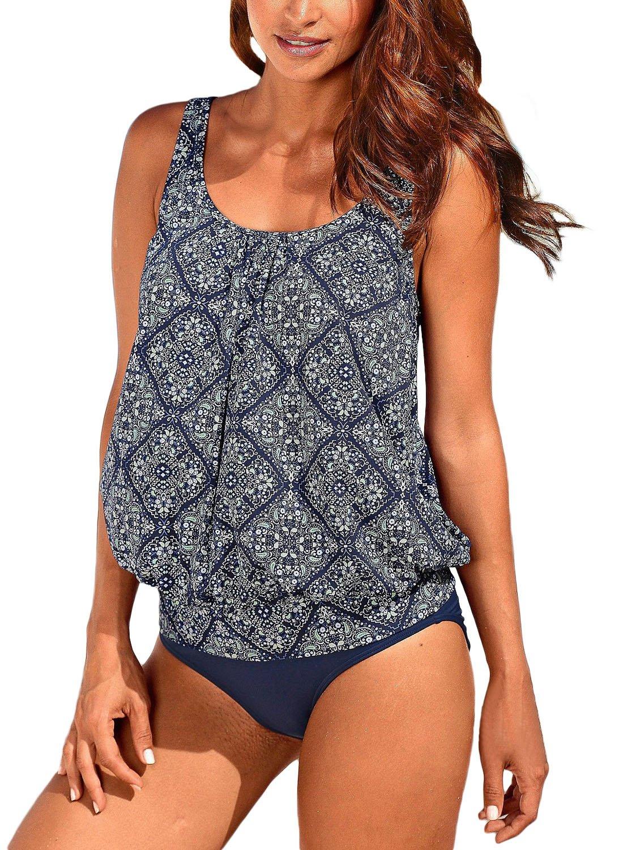 Happy Sailed Women Sporty Color Block Print Tankini Top Bikini Bottoms Tankini Set Outdoor Swimsuit XX-Large Navy
